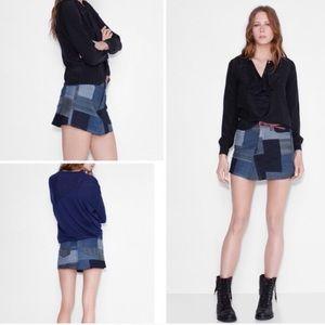 Zadig & Voltaire Denim Patchwork Mini Skirt 36